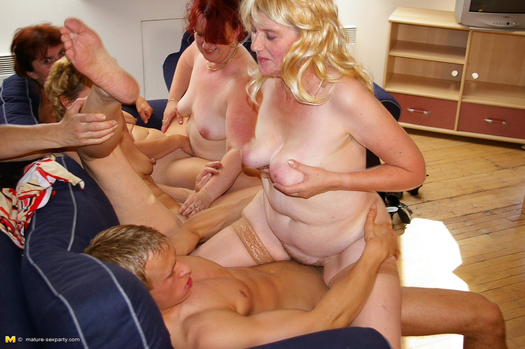 Horny orgy video are
