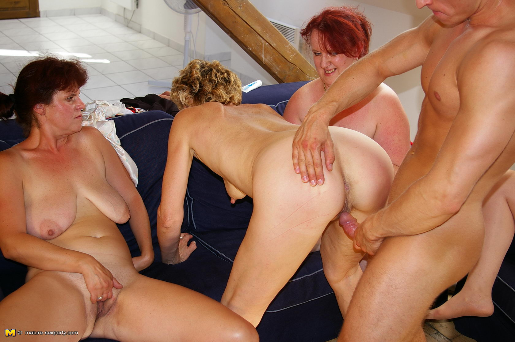 Topless orgy mature women have