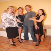 Three mature party wives share one hard cock