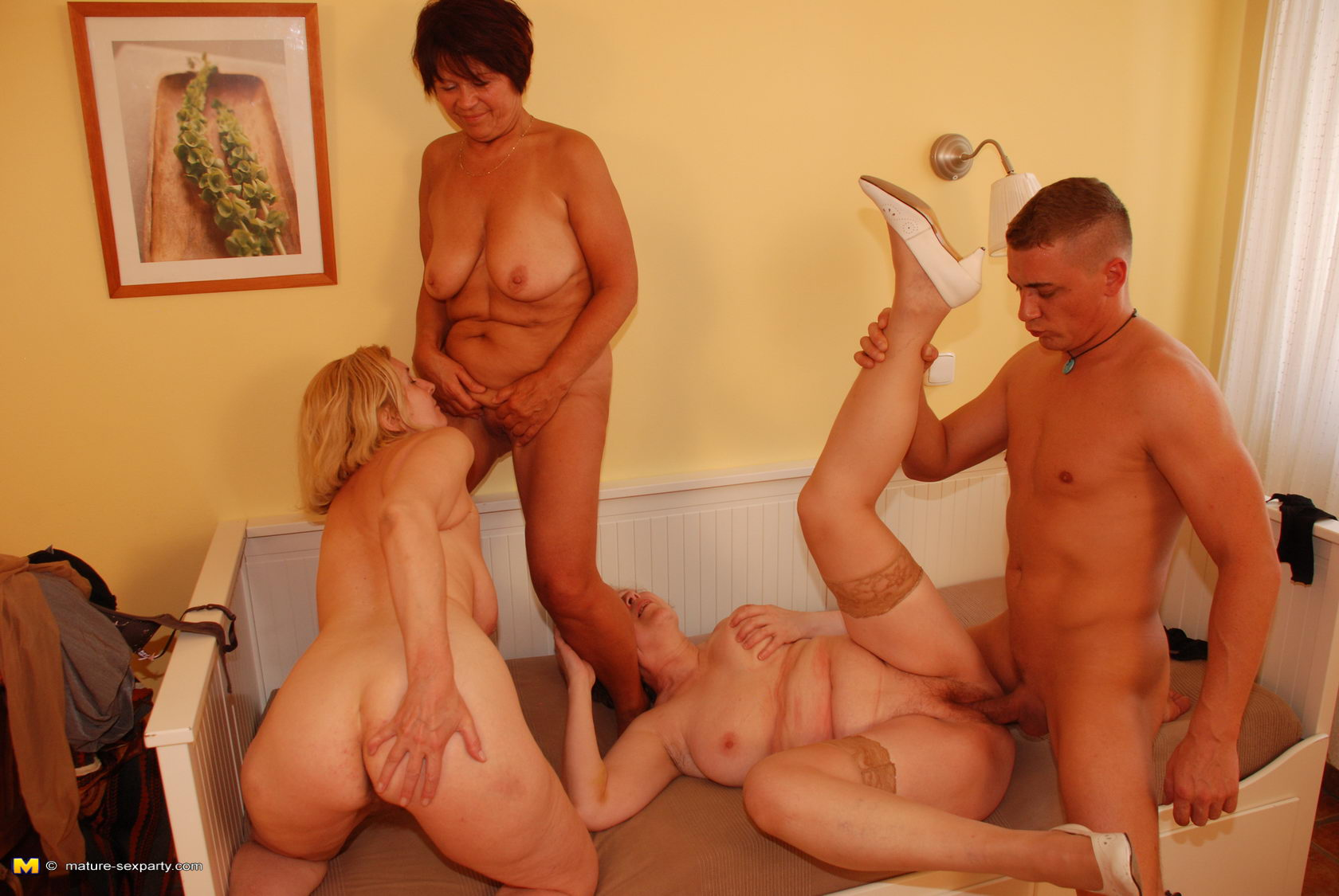 one guy Mature three fucking sluts