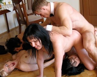 Mature sluts get done by one strapping young butler