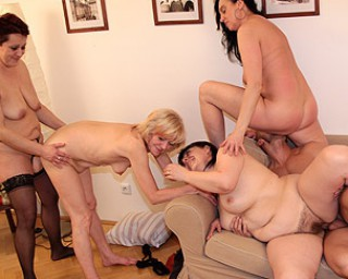 This lucky dude is fucking four mature sluts