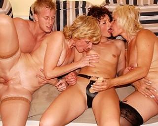 One guy who loves to fuck three mature sluts