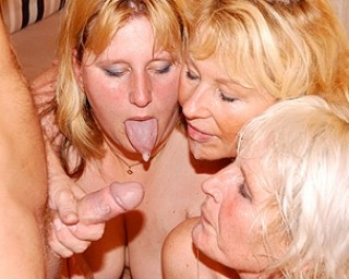 This dude is partying with three mature sluts