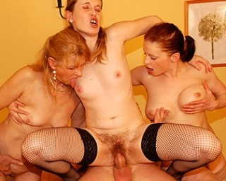 Three naughty mature sluts share one cock