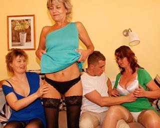 Three mature sluts sucking and fucking one guy