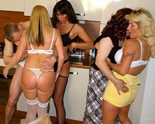 Mature mature-sexparty Four horny sluts do one lucky dude